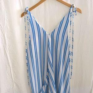 Blue white striped tulip dress